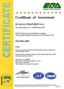 Scaglia Trasporti | Certificato EQA ISO 9001:2008