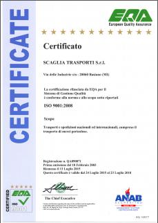 Certificato EQA ISO 9001:2008